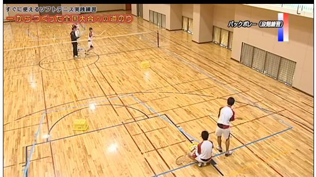 ソフトテニスボレー練習